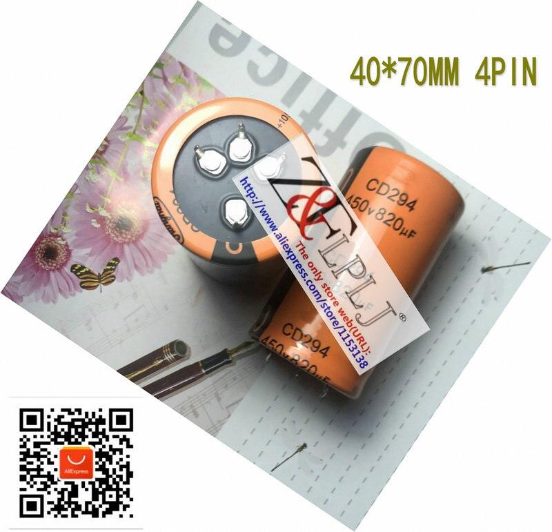 Condensador electrolítico CD294 450V820uF 450V 820 uF/820uF450V 820uf 450 volt 4PIN nuevo Original 5 unids/lote