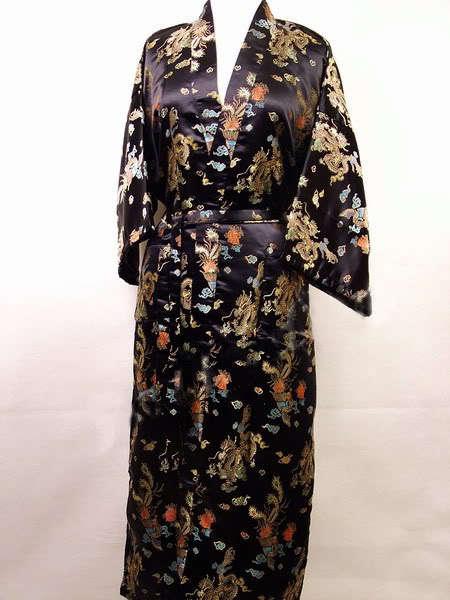 ¡Envío Gratis! traje de baño de satén de seda para hombre chino vestido de noche Yukata Kaftan bata con cinturón S M L XL XXL XXXL dragón MR001