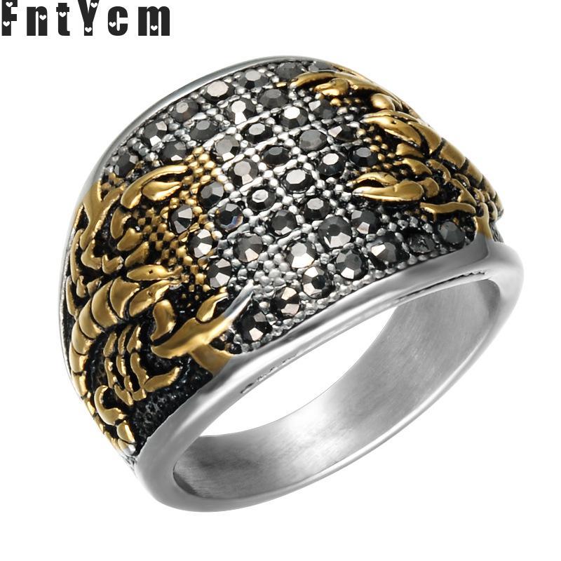 Мужское кольцо с кристаллами Scorpio, черное кольцо из нержавеющей стали в стиле панк с кристаллами Cristal, байкерское супер крутое кольцо со скорпионом