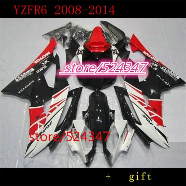 Inyección Yzf R6 08-14 conjuntos de carenado rojo blanco SA1 YZFR6 2008,...