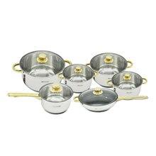 12 pièces en acier inoxydable plaqué or poignée cuisine casseroles batterie de cuisine ensembles Saupcepan Casserole Frypan ustensile Induction cuisinière