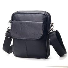 New Cow Leather Men's Black Mini Single Shoulder Bags Portable Men's Business Brief Design Genuine Leather Men Crossbody Bag