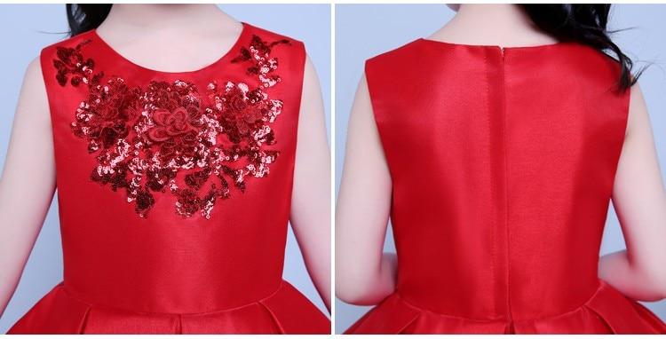 3-14T Red Satin Flower Girl Dress Sequin Princess Tutu Party Wedding Dresses for Girls Christmas Style Sweet Kids Dress