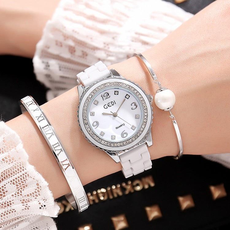 2019 GEDI Fashion Ceramics Women Watches Top Luxury Brand Ladies Quartz Watch 3 Pieces Bracelet Watch Relogio Feminino Hodinky enlarge