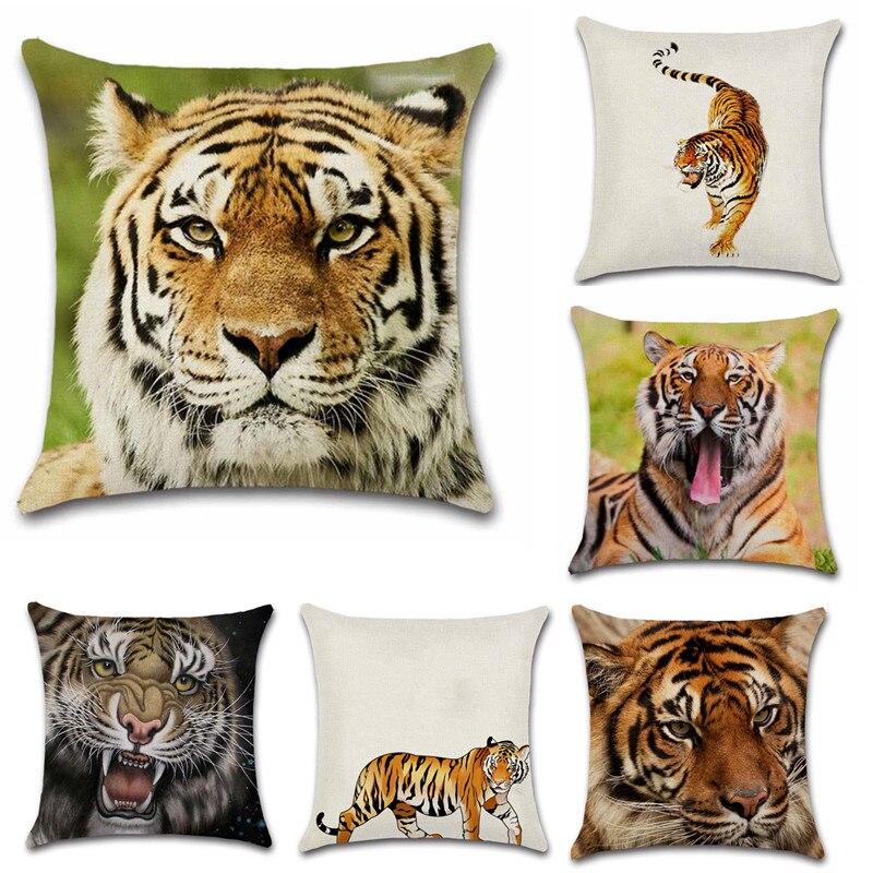 Funda decorativa para cojín con estampado de tigre de animales del rey del bosque, asiento de sofá para el hogar, regalo para niños, dormitorio, regalo para amigos, funda de almohada para regalo