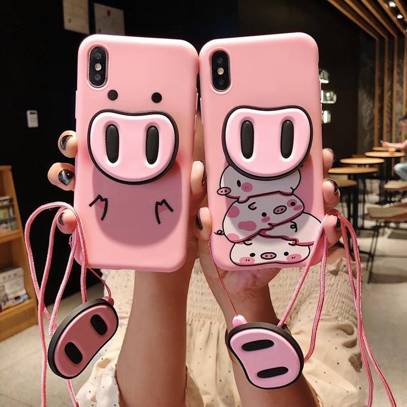 Luxo 3D nariz de porco dos desenhos animados titular suporte do telefone de silicone caso para o iphone 6 S 7 7plus 8 8 plus X XR XS MAX doces bonito rosa coque