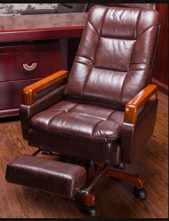 Real leather computer chair. Massage chair can lie home office chair. Real wood swivel chair28 real leather boss chair can lie high grade massage computer chair home office chair real wood swivel chair 08