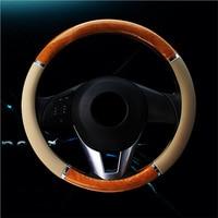 Carbon Steering Wheel Cover Wood Steering-Wheel Covers Mahogany Retro Leather Car Steering Wheels Hubs Car Interior Accessories