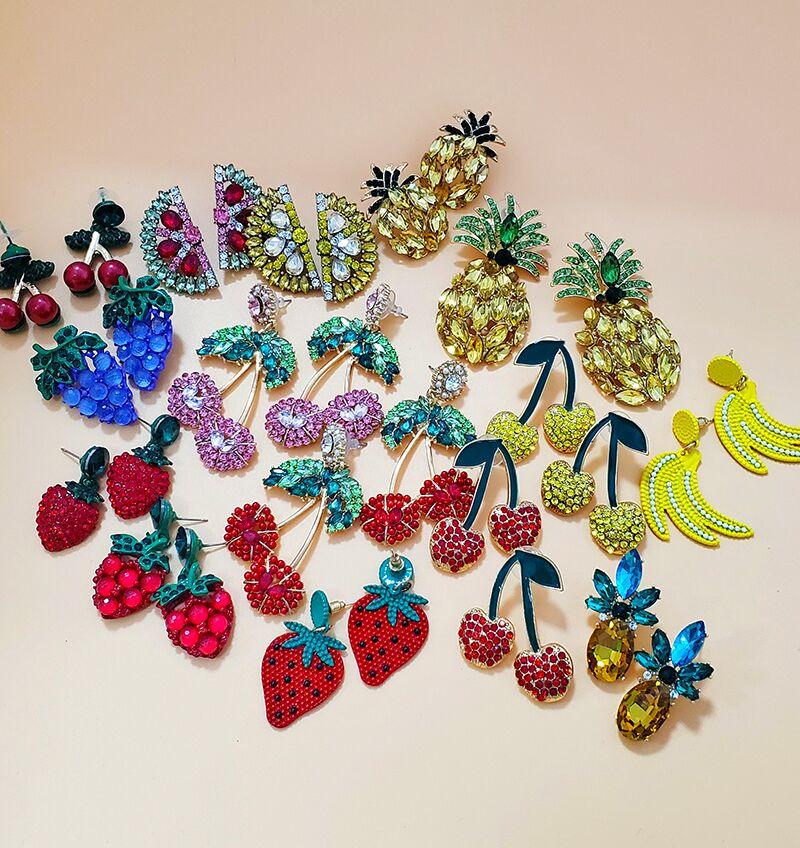 ¡Moda 2019! aretes de gota a la moda de cristal de frutas de marca de moda con diamantes de imitación, joyería de boda, Pendientes de regalo
