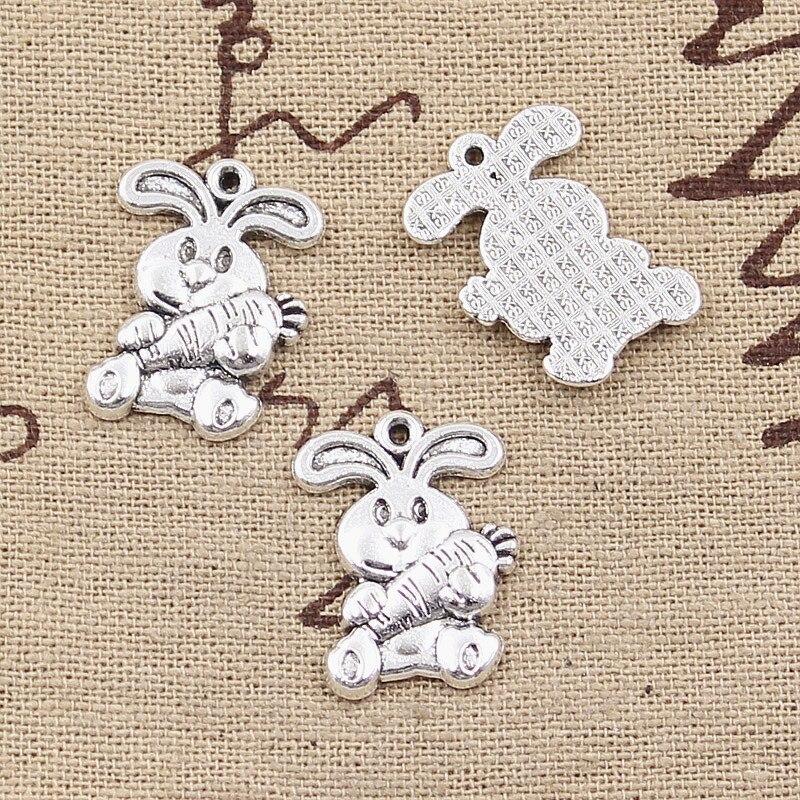 15 piezas de dijes conejo conejito zanahoria Pascua 21x15mm colgantes de Color plata antiguo hacer joyería de Color plata tibetana hecha a mano DIY