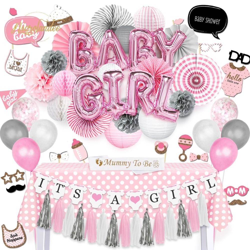 NICROLANDEE 92 sztuk/zestaw BABY GIRL Shower Party Decora DIY balon lampiony papierowe Tissue fani obrus mamusia być Sash rekwizyty