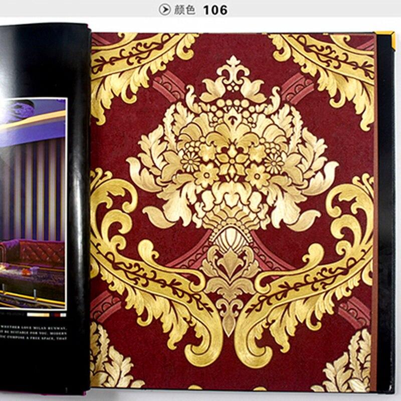 Luxurious Damascus Pattern Blue red Golden Color Wallpaper Roll For  Living Room Bedroom Gold Foil Wallpaper
