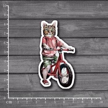 Bicycle Cat DIY Scrapbooking Stationery Sticker Decor For Ablum Diary Scrapbookin Laptop Notebook School Supplies[Single]