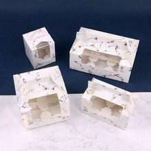 10 sztuk marmuru, tekstury, ciasto, pudełko makaronik 1/2/4/6 pudełka z ciastkami z oknem herbatniki pudełka na prezent torba uchwyt do pieczenia pakiet do dekoracji