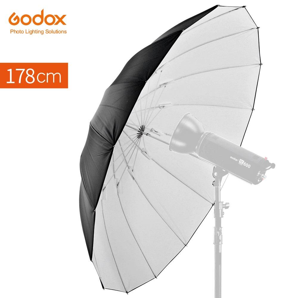 "Godox studio photogrphy 70 ""178 cm branco preto reflexivo iluminação luz guarda-chuva"