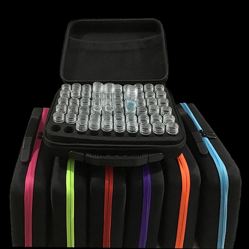 Sac de rangement diamant 7 couleurs 30/60 bouteilles   Peinture diamant, point de croix, accessoires boîte à outils, conteneur sac de rangement diamant, mallette de broderie mosaïque