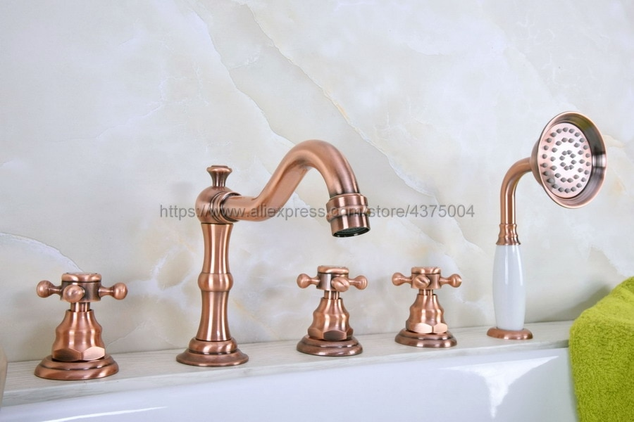 Vermelho antigo cobre 5 peça banheira fauce torneira do banheiro para quente e fria misturadora torneira da pia 3 lidar com 5 buraco ntf223
