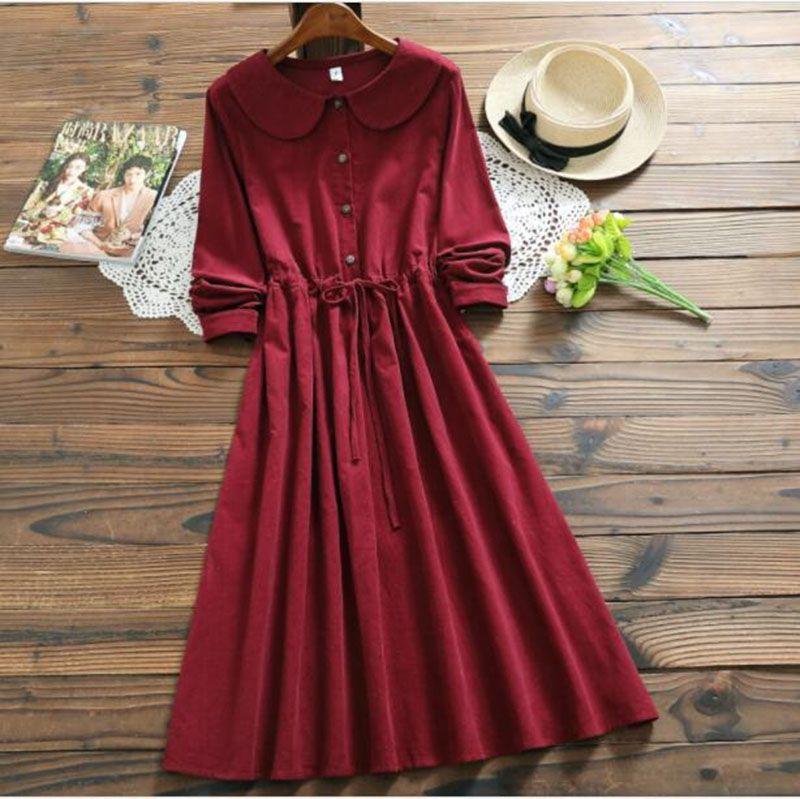 Mori Girl Bordeaux Red Corduroy Dress New Autumn Winter Women Peter Pan Collar Long Sleeved Long Vintage Dresses