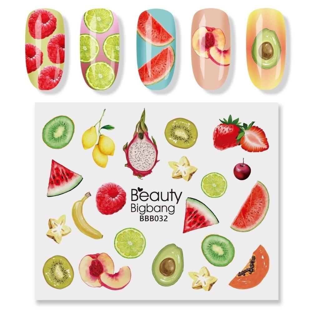 BeautyBigBang, 2 unidades, Set de pegatinas para uñas, fruta, plátano, melocotón, aguacate, decoración de imágenes, envolturas de agua, calcomanías para uñas, arte BBB032