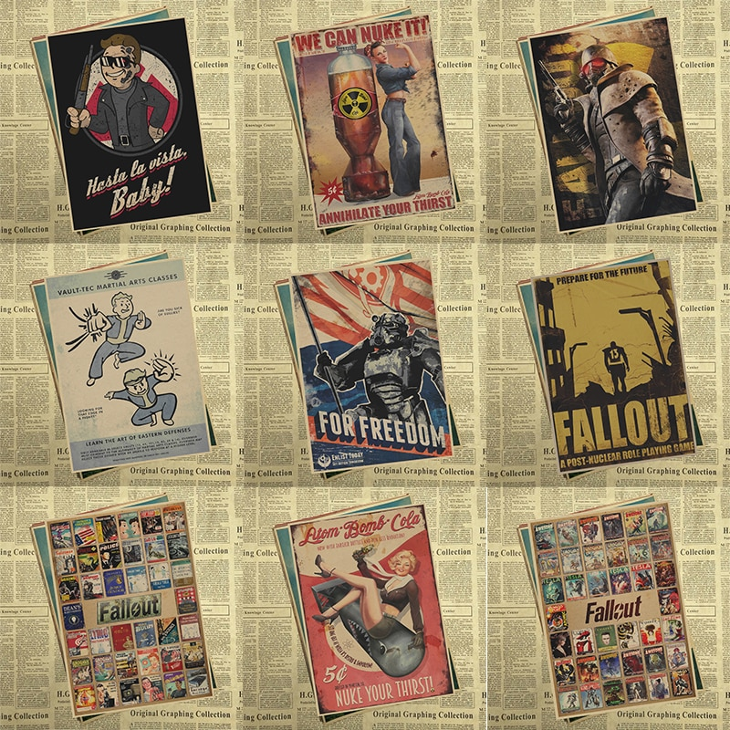 Fallout 3 4 Spiel Poster Von Einrichtungs dekoration Kraft Spiel Poster Zeichnung core Wand aufkleber 42*30cm