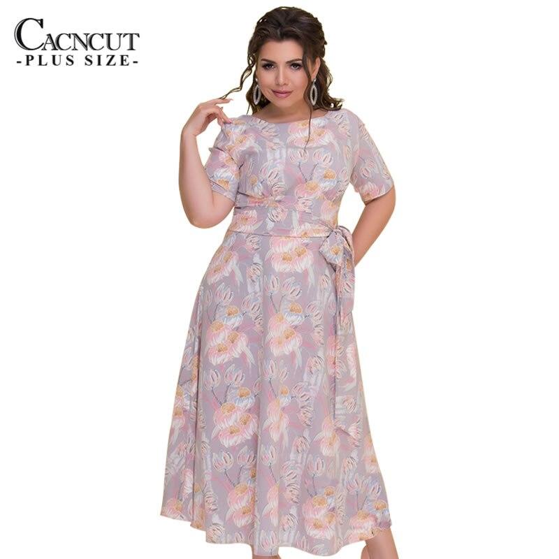 CACNCUT moda mujer 2018 de talla grande 6XL verano Vintage flor estampado Vestido sin espalda elegante Vestido de mujer de gran tamaño