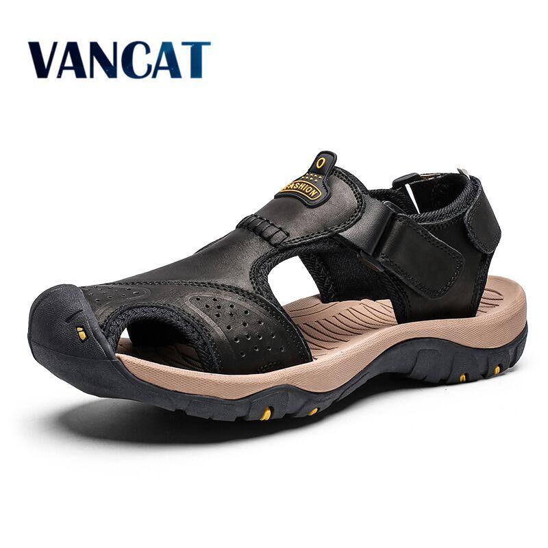 Мужские летние сандалии из натуральной кожи на пляж размеры 38 46 2019|Сандалии| |