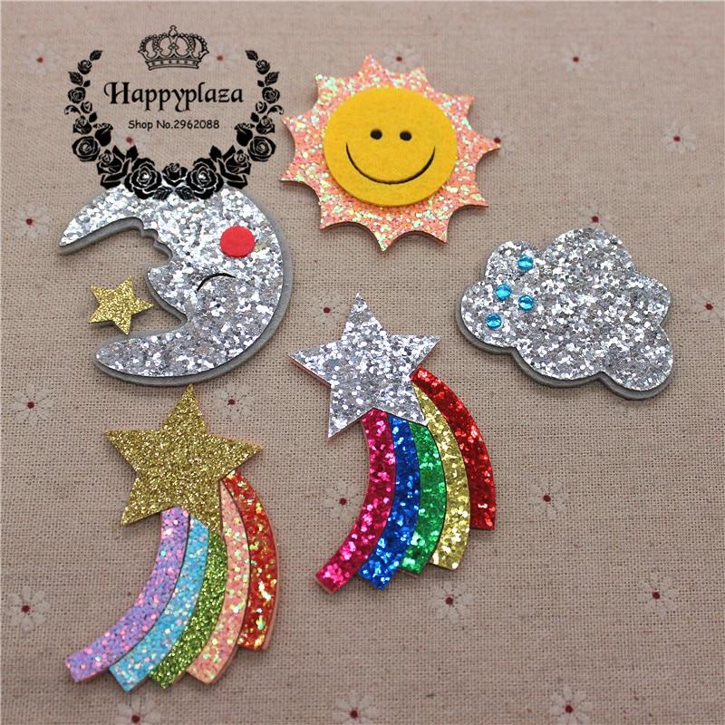 5 pçs brilho tecido de couro não tecido sol/lua/arco-íris estrela/nuvem apliques remendos acessórios diy artesanato decoração
