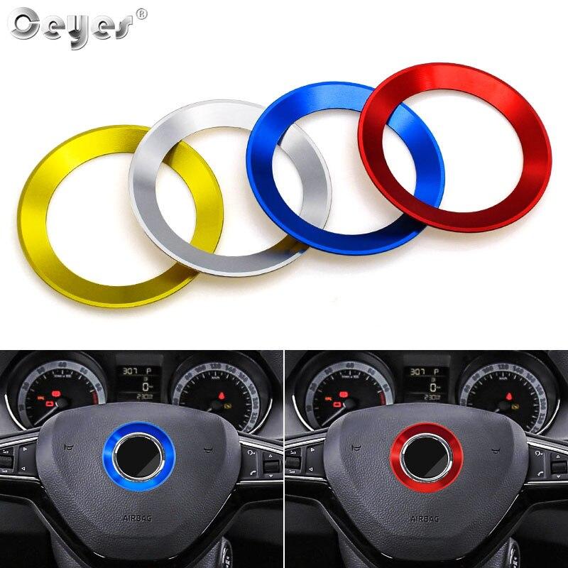 Ceyes автомобильный Стайлинг Руль круг кольцо логотип эмблемы аксессуары чехол для Skoda Octavia A 7 A7 A5 2 Rapid Декоративные Чехлы