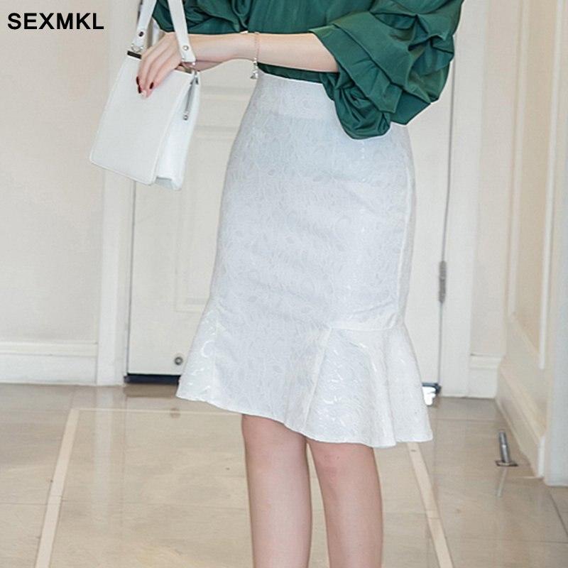 SEXMKL Frauen Plus Größe Bleistift Rock Hohe Taille 2020 Mode Sommer Spitze Röcke Formale Büro Dame Arbeit Schwarz Maxi Rock weiß