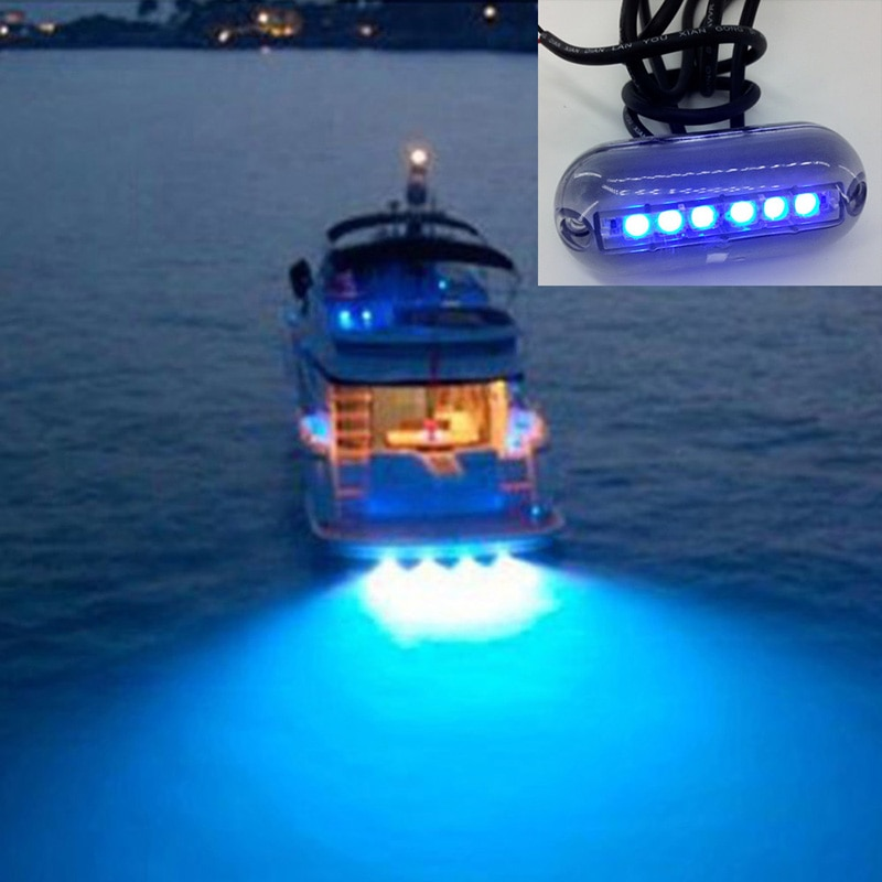 Подводный фонарь для рыбалки с 6 светодиодный одами, 12 В, носветильник для лодки, водного ландшафта, освещение для морской лодки