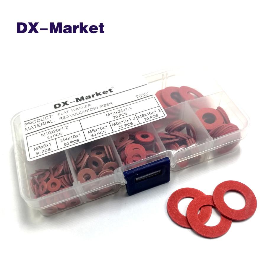 M3 M4 m5 m6 m8 m10 m12 красная Вулканизированная волоконная шайба комплект, 230 шт прокладки изоляции шайбы, красные изоляционные шайбы, T0507