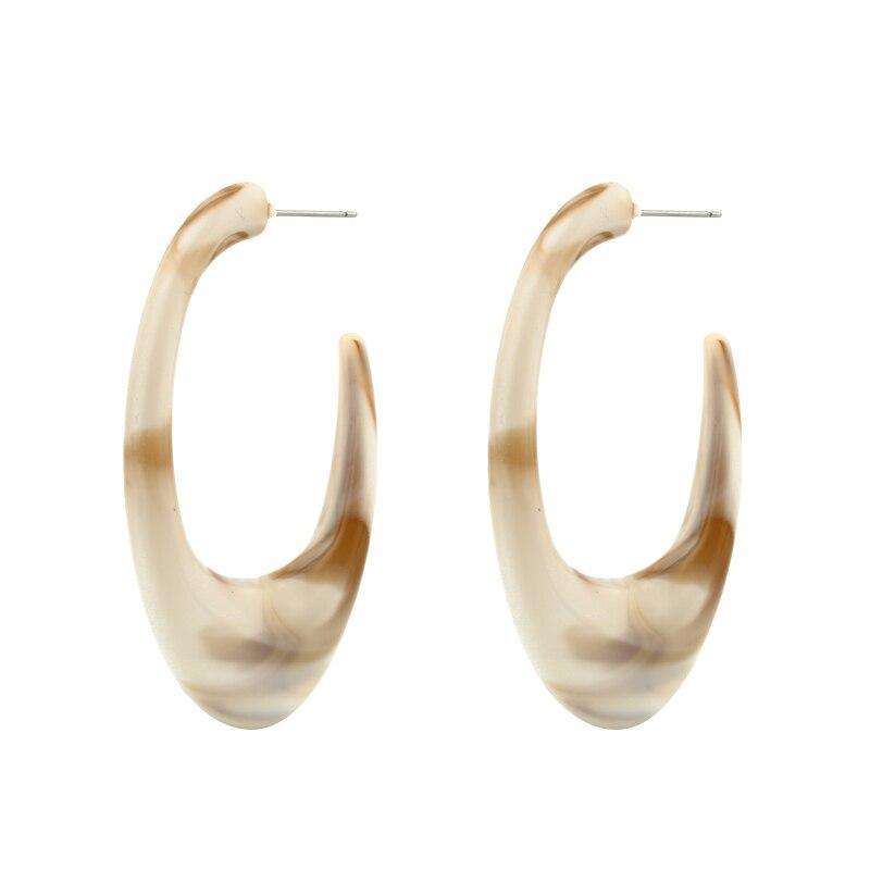 Dayoff U Shape Acetic Acid Beige Stud Earrings Piecring Unique Earstud Coffee Vintage Stud Earrings Women Female Jewelry E529