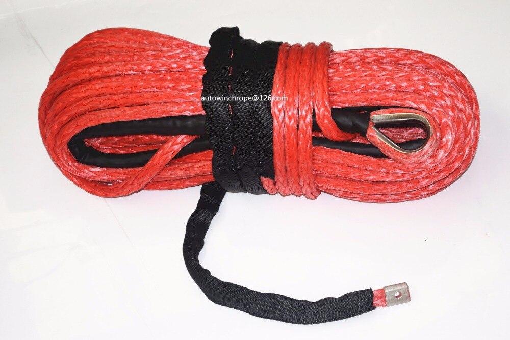 Бесплатная доставка 16 мм * 28 м красный синтетический трос лебедки, внедорожный трос, СВМПЭ веревка, ATV лебедки аксессуары