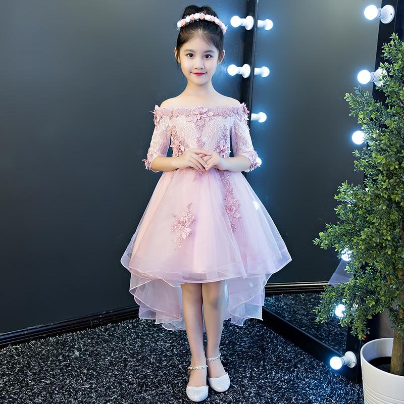 Requintado shouldless apliques flor menina vestido de cauda de andorinha crianças bebê adolescentes floral princesa pageant formatura vestido de aniversário