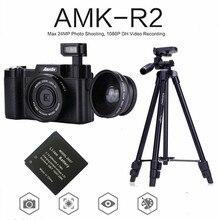 AMKOV AMK-R2 24MP 1080P appareil Photo reflex numérique + objectif grand angle caméscope DVR A26B + batterie supplémentaire + VCT-520 trépied piège Photo