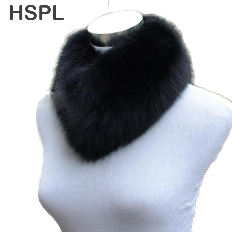 HSPL Real Fur Scarf For Women Wholesale Fox Fur Scarves Ring Design Neck Warmer For 2017 Short Warm Genuine Fox Fur Neckwear