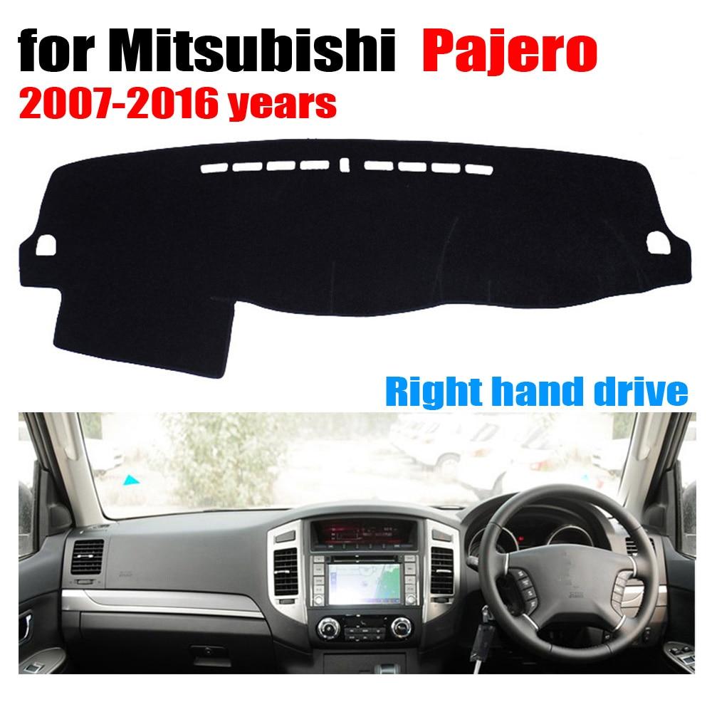 Alfombrilla para cubiertas de salpicadero de coche RKAC para Mitsubishi Pajero 2007 a 2016, accesorios personalizados para salpicadero de coche