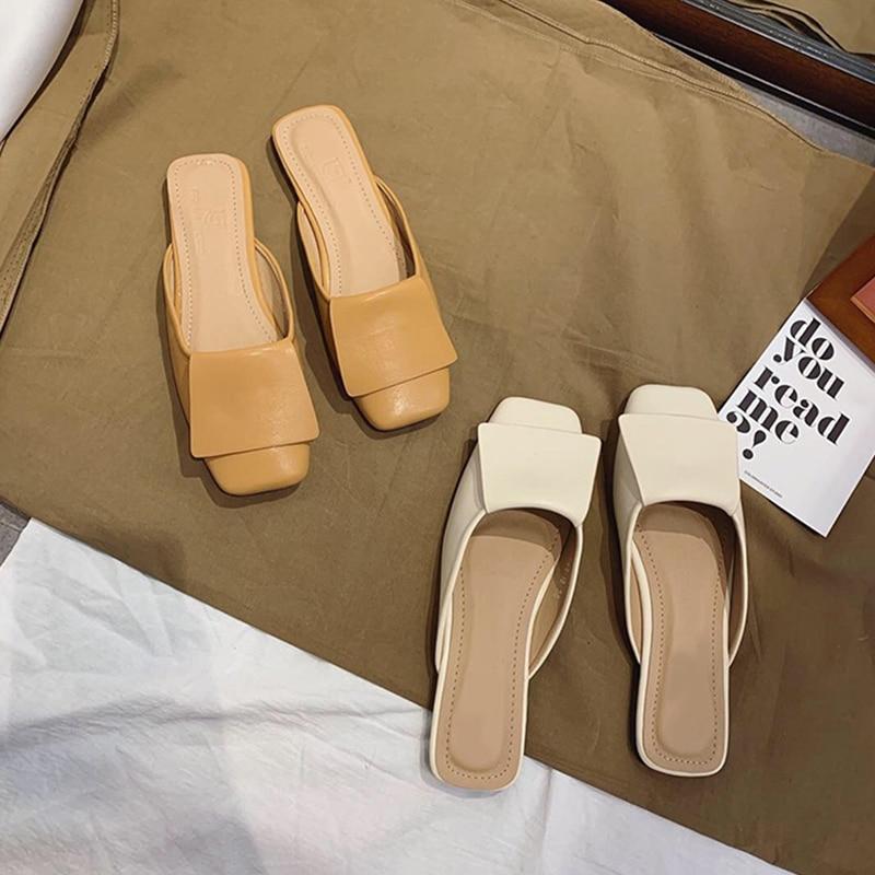 MONMOIRA Vintage Square Toe Slipper Sandals Women Solid Geometric Flat Sandals Women Slip on Summer Beach Sandals SWC0434