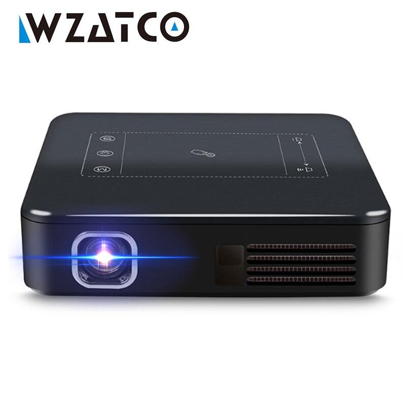 Wzatco d13 android 7.1 mini projetor de bolso 4k inteligente pico dlp portátil led wifi built-in bateria de cinema em casa beamer proyector