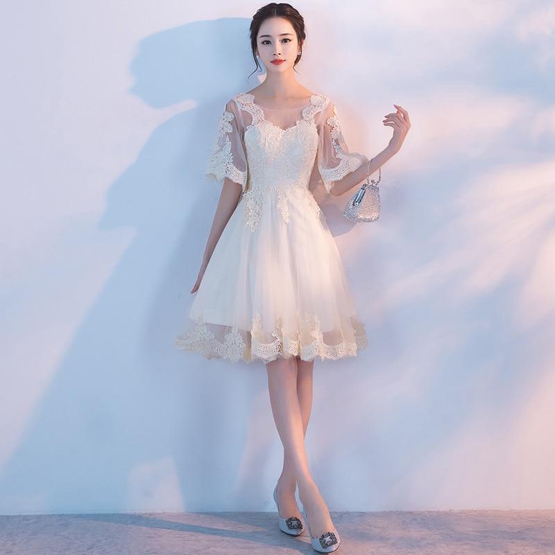 Vestido corto de encaje champán para dama de honor, Mingli Tengda, apliques...