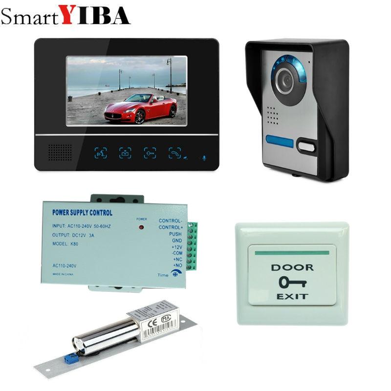 SmartYIBA 7 Inch LCD Video Door Phone Doorbell Intercom Kit 1-camera 1-monitor Night Vision with IR-CUT HD Camera