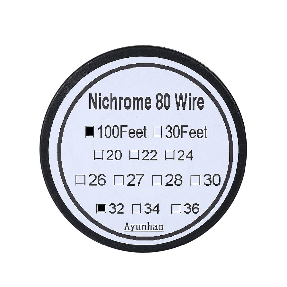 Nicrome 80 alambre 32 calibre 100 pies 0,2mm resistencia Cantal AWG núcleo atomizador DIY