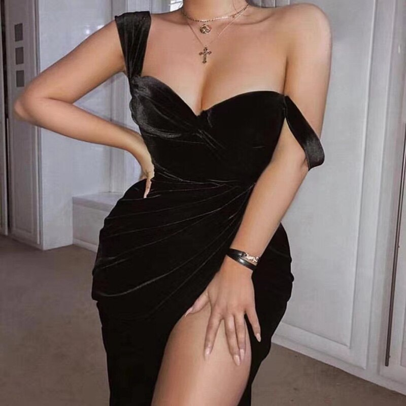 2019 más nuevo y más caliente vestido de terciopelo negro sexy mujeres chic verano un hombro mini club vestido sólido celebrity Fiesta vestidos