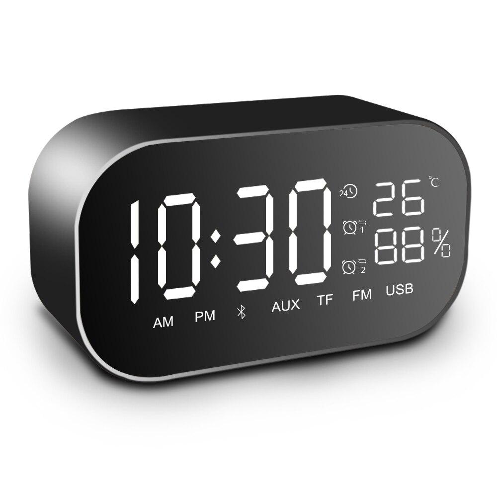 Ups2 multifunções rádio fm com display portátil mesa alto-falante bluetooth duplo despertador suporte aux tf cartão mic