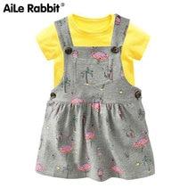 AiLe Rabbit  provides straightly girls cotton short sleeve T-shirt Printing braces skirt Baby two-piece Girls braces skirt