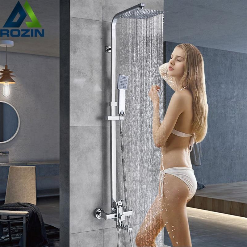 Смеситель для душа Rozin, хромированный, для ванной комнаты, смеситель для душа с дождевой насадкой, полотенце, вращающийся носик, для ванной, с...