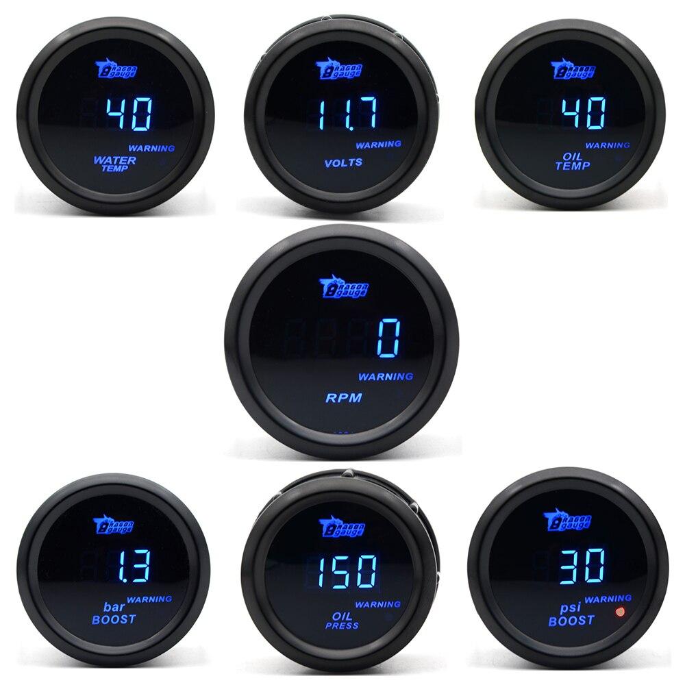 DRAGON GAUGE 2 52 мм Boost/температура воды/Температура масла/Вольт/Тахометр/Датчик давления масла черный цвет Цифровой синий светодиод + манометр ...