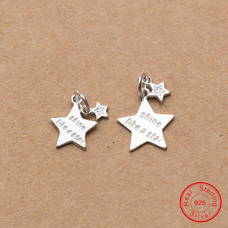 UQBing hecho a mano de Plata de Ley 925 doble pequeño gran abalorios de estrella para DIY encantos pulsera de joyería