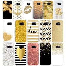 110AQ amp yellow gold glitter Soft TPU Silicone Cover Case for samsung Galaxy s6 s6 s7 edge s8 s9 plus case