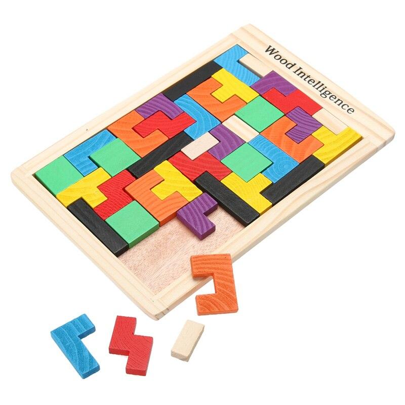 Colorido de madeira tangram cérebro teaser quebra-cabeças brinquedos jogo tetris pré-escolar magination intelectual educacional brinquedo do miúdo presente aniversário